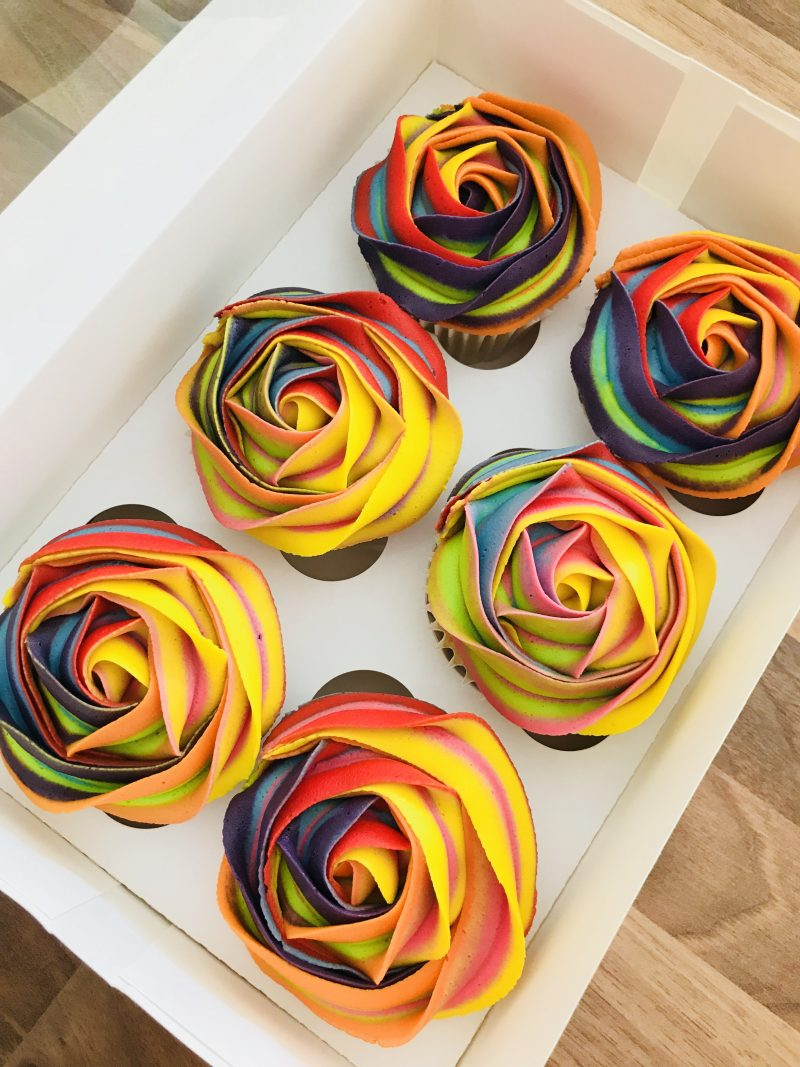 Rainbow rose cupcake